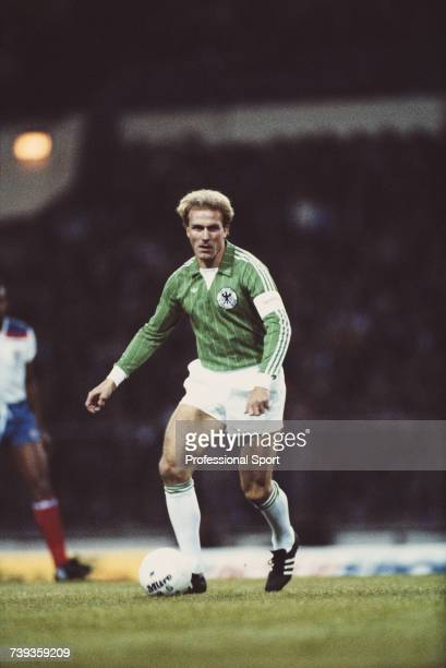 German professional footballer and captain of the West Germany national football team KarlHeinz Rummenigge pictured in action during the...