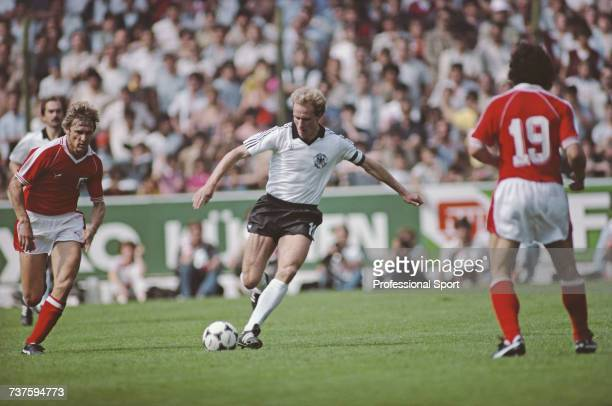 German professional footballer forward with Bayern Munich and captain of the West Germany national football team KarlHeinz Rummenigge pictured about...