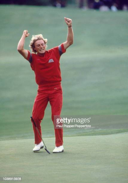 German professional golfer Bernhard Langer celebrates on a green during play in the final round to win the 1985 Masters Tournament at Augusta...