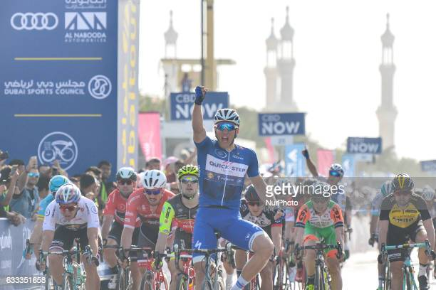 A German professional road racing cyclist Marcel Kittel from QuickStep Floors team wins the Ras Al Khaimah stage 186 km second stage of Tour of Dubai...