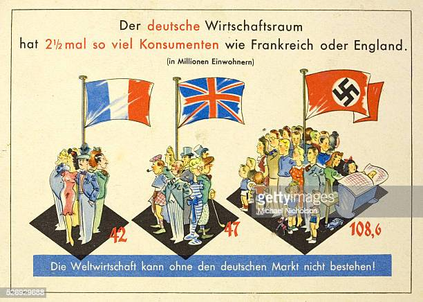 German propaganda card from just before the Second World War showing the diffence in population density between Germany France and England Designed...