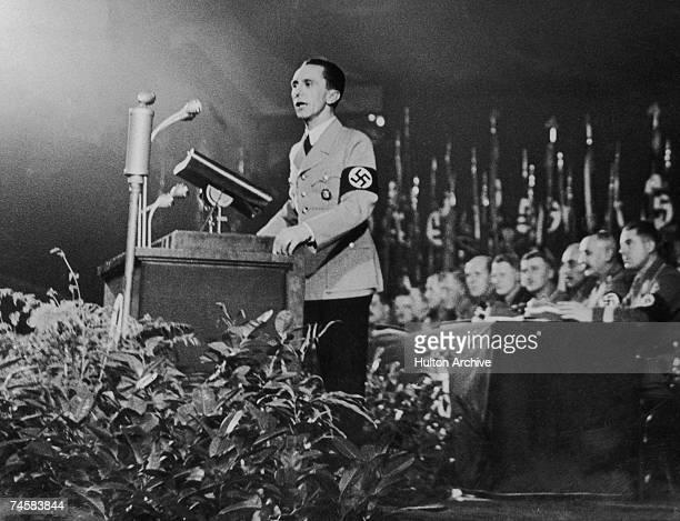 German propaganda minister Joseph Goebbels addresses a party gathering circa 1939