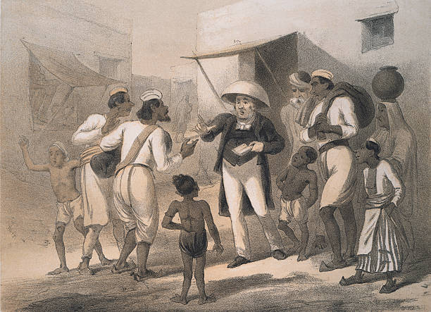 A German protestant missionary at work in India, circa...