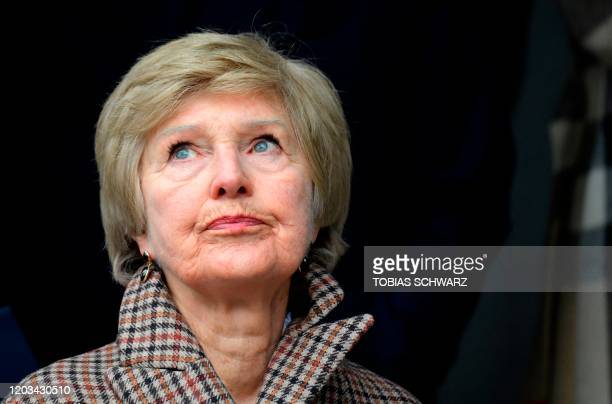 German publisher and main owner of the Axel Springer media conglomerate Friede Springer attends a stumbling stone laying ceremony in front of the...