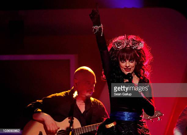 German punk rock singer Nina Hagen performs at The Dome 55 on August 27 2010 in Hannover Germany