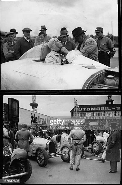 German race driver Manfred von Brauchitsch in his Mercedes automobile shortly before the start of the race Germany Photograph Der deutsche Rennfahrer...