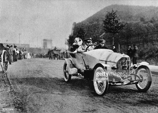 German racing driver and engineer Ferdinand Porsche driving an Austro Daimler at the Prince Henry Trial