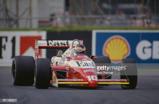 German racing driver Bernd Schneider drives the West Zakspeed Racing Zakspeed 881 Zakspeed 1500/4 during qualification for the 1988 British Grand...