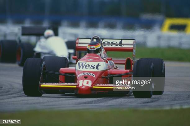 German racing driver Bernd Schneider drives the West Zakspeed Racing Zakspeed 881 Zakspeed 1500/4 during qualification for the 1988 Brazilian Grand...