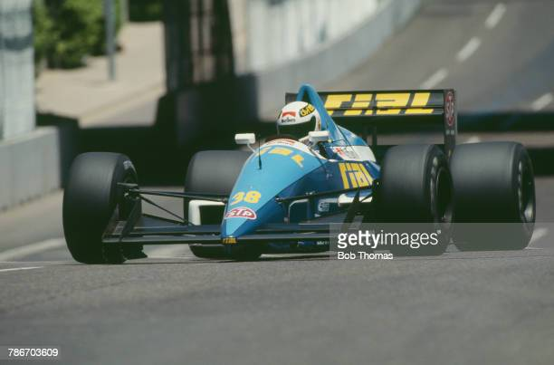 German racing driver Christian Danner drives the Rial Racing Rial ARC2 Ford Cosworth DFR 35 V8 in the 1989 United States Grand Prix in Phoenix on 4th...