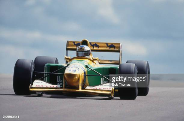 German racing driver Michael Schumacher drives the Camel Benetton Ford Benetton B192 Ford HB 35 V8 to finish in 4th place in the 1992 British Grand...