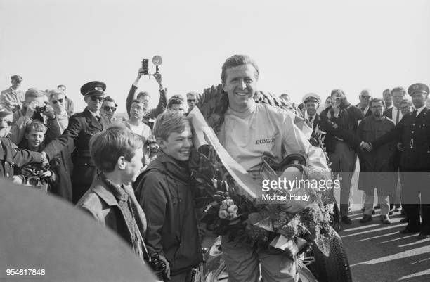 German racing driver Wolfgang von Trips celebrating his victory at the Dutch Grand Prix, Circuit Park Zandvoort, Zandvoort, Netherlands, 22nd May...