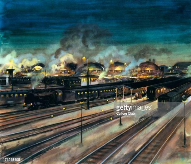 German Railways Munich Central Station at night Watercolour by Rudolf Lipus National Socialist propaganda 1935 Train Industry Munchen