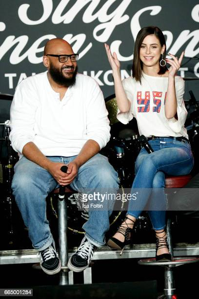 German Rapper and music producer Moses Pelham and german singer Lena MeyerLandrut during the 'Sing meinen Song' Press Conference on April 5 2017 in...