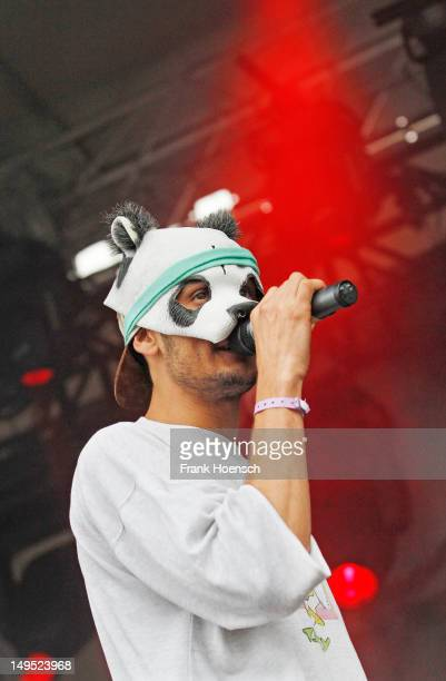 German rapper Carlo Waibel aka CRO performs during day 3 of the Greenville Festival on July 29 2012 in Paaren Glien Germany