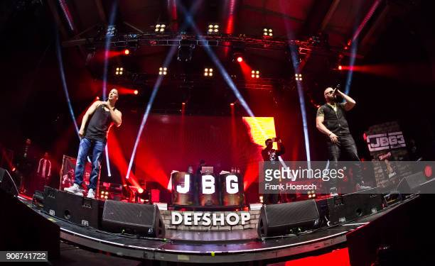 German rapper Farid Bang and Kollegah perform live on stage during a concert at the Columbiahalle on January 18 2018 in Berlin Germany