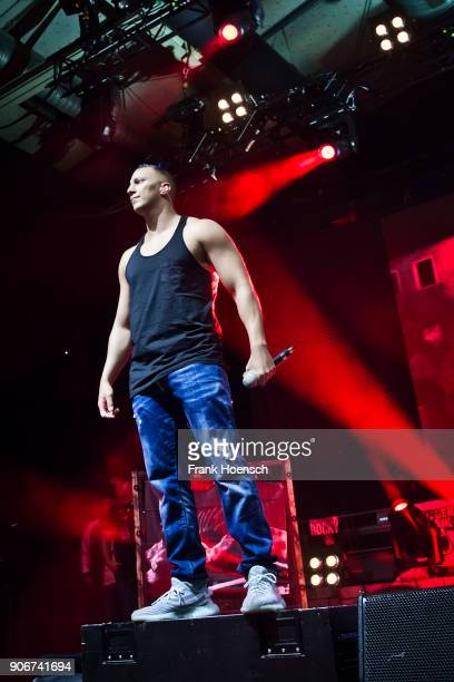 German rapper Farid Bang performs live on stage during a concert at the Columbiahalle on January 18 2018 in Berlin Germany