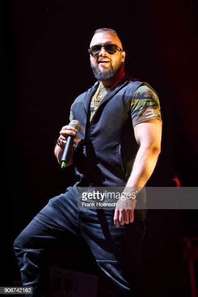 German rapper Kollegah performs live on stage during a concert at the Columbiahalle on January 18 2018 in Berlin Germany