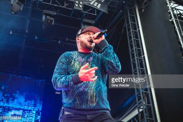 German rapper Kool Savas performs live on stage during a concert at the Zitadella Spandau on August 15 2018 in Berlin Germany