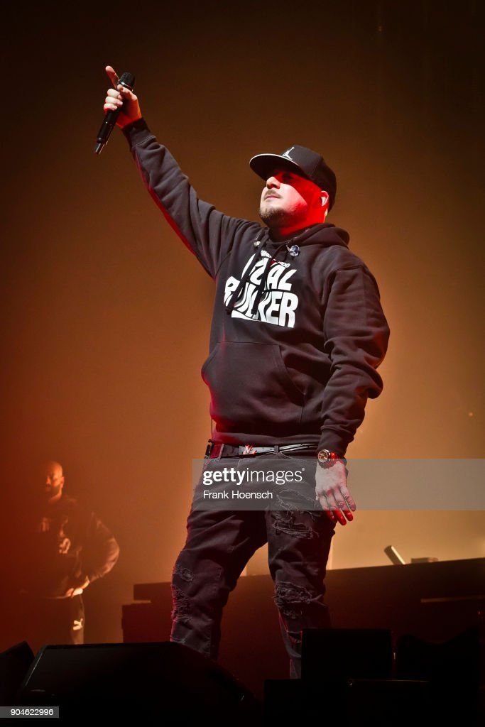 German rapper Kool Savas performs live on stage during a concert at the Max-Schmeling-Halle on January 13, 2018 in Berlin, Germany.