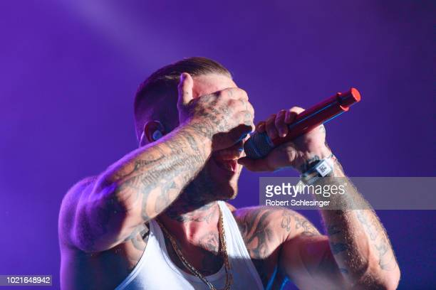 German rapper Maximilian Diehn aka Kontra K performs live on stage during day 2 of the Highfield Festival at Stoermthaler See on August 18 2018 in...