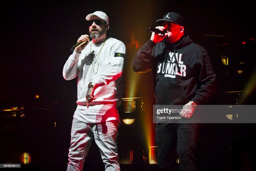 German rapper Sido and Kool Savas perform live on stage during a concert at the Max-Schmeling-Halle on January 13, 2018 in Berlin, Germany.