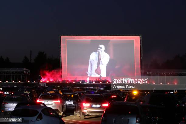 German Rapper Sido performs at the Georg Schutz drivein cinema during the coronavirus crisis on April 26 2020 in Dusseldorf Germany Driveins are...