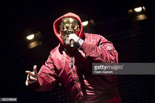 German rapper Sido performs live during a concert at the Columbiahalle on January 20 2017 in Berlin Germany