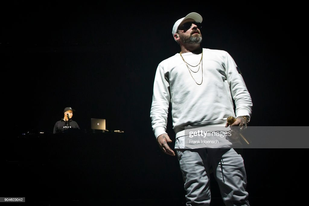 German rapper Sido performs live on stage during a concert at the Max-Schmeling-Halle on January 13, 2018 in Berlin, Germany.