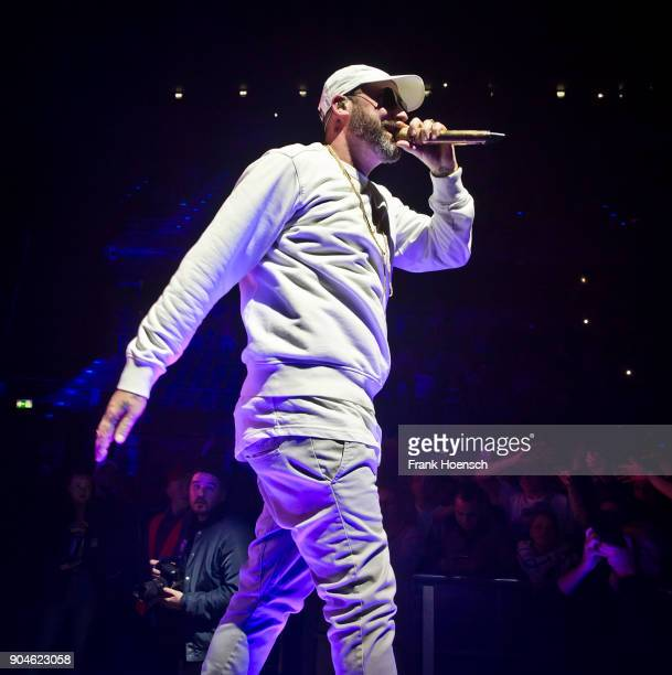 German rapper Sido performs live on stage during a concert at the MaxSchmelingHalle on January 13 2018 in Berlin Germany
