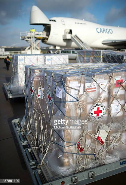 German Red Cross aid destined for the Philippines waits at Schoenefeld Airport before being loaded on to a Boeing 747 cargo plane on November 13 2013...