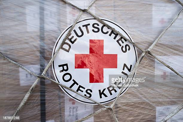 German Red Cross aid destined for the Philippines waits at Schoenefeld Airport before being loaded on to a plane on November 13 2013 in Schoenefeld...