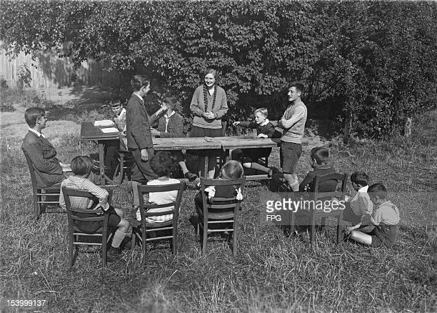 German reform school children hold a students' court in the open air at the BartholdOtto reform school in Lichterfeld Germany 18th October 1929 The...