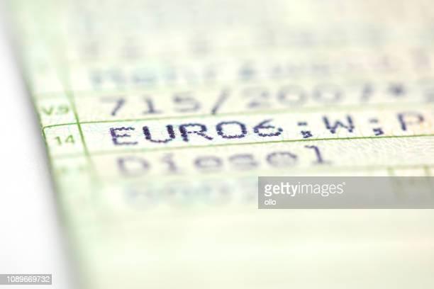 German registration certificate - vehicle emission performance standard Euro 6 norm, diesel