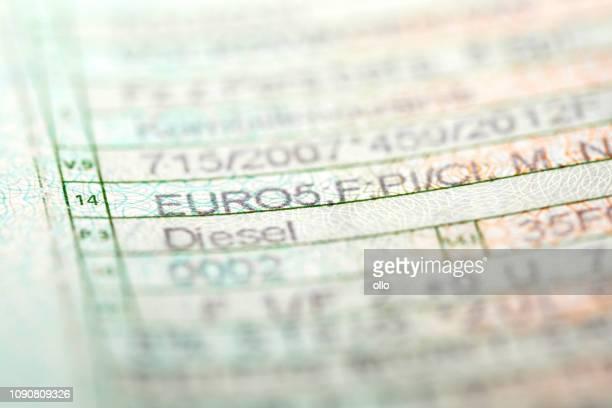 German registration certificate - vehicle emission performance standard Euro 5 norm, diesel