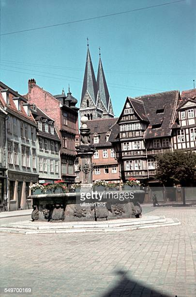 German Reich Prussia prov Saxonia Halberstadt Old town the Holzmarktbrunnen background the cathedral 1940
