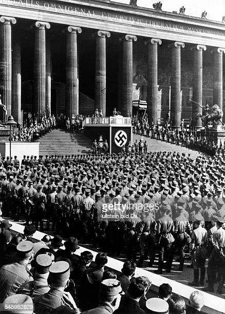 German Reich SA leader Viktor Lutze holding a manifestation in the Berlin Lustgarten SA men mustered in front of the Altes Museum Photographer Heinz...