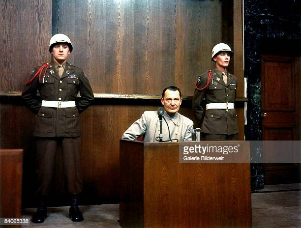 German Reichsmarschall Commander of the Luftwaffe Hermann Goering during cross examination at his trial for war crimes in Room 600 at the Palace of...