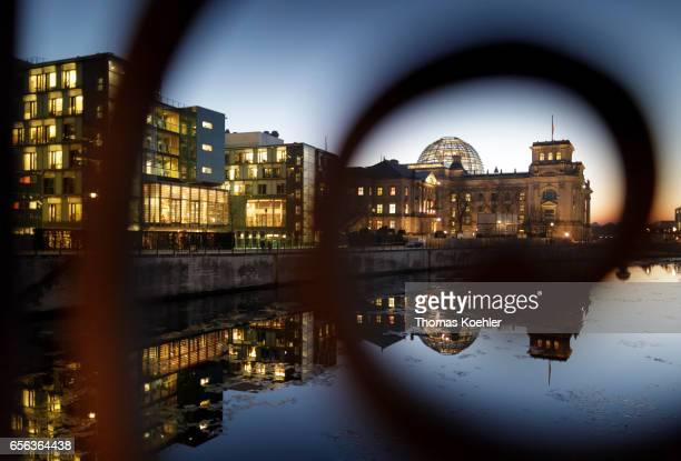 German Reichstag at the river Spree at evening light on February 15 2017 in Berlin Germany