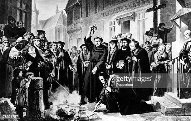 German Religious revolutionary and leader of the Protestant reformation 1483 1546 Martin Luther pictured burning the Papal Bull