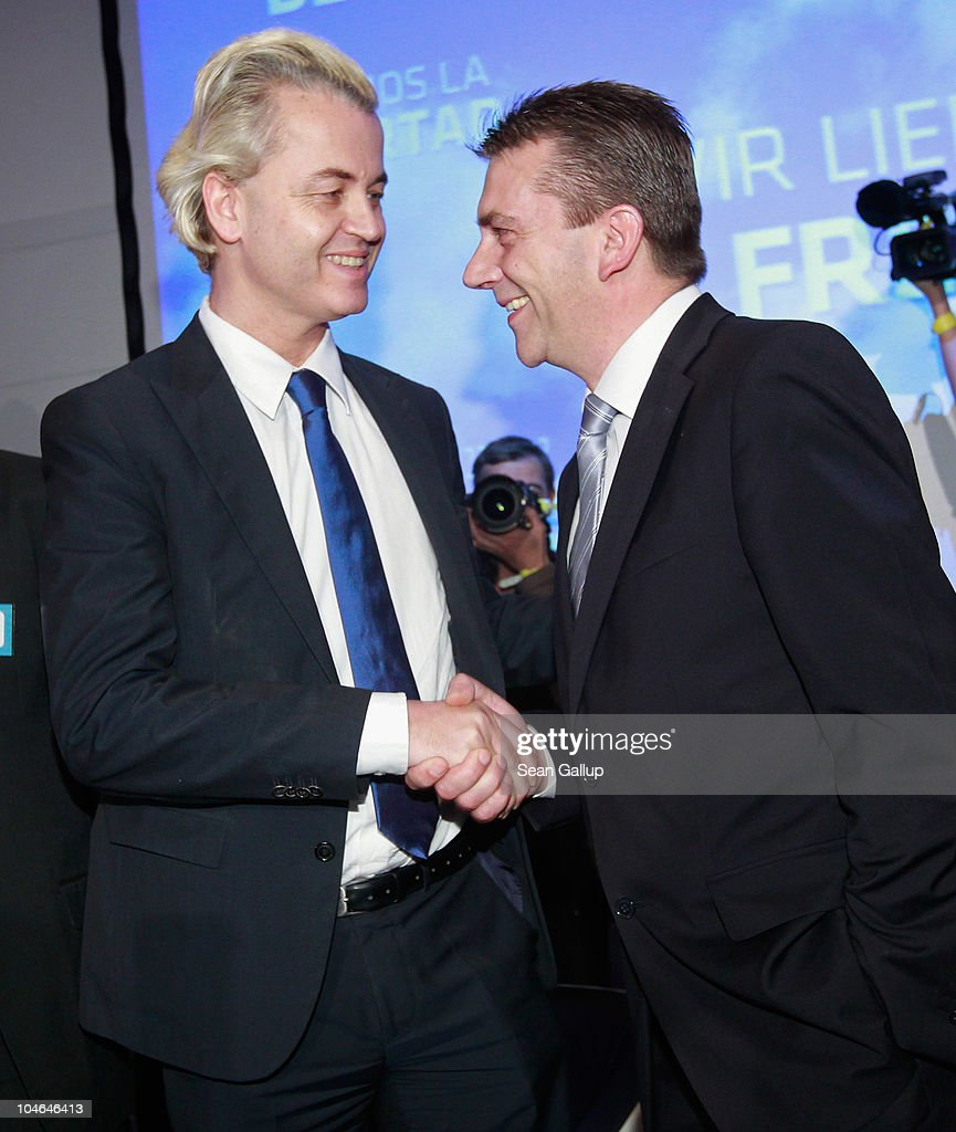German renegade former Christian Democrat (CDU) Rene Stadtkewitz (R) greets Dutch right-wing politician Geert Wilders on October 2, 2010 in Berlin, Germany. Stadtkewitz, an outspoken Islam crisitc, invited Wilders to speak to approximately 500 supporters in Berlin. Wilders is seeking to create an international alliance of critics of Muslim immigration in Germany, France, the United Kingdom, the United States and the Netherlands.