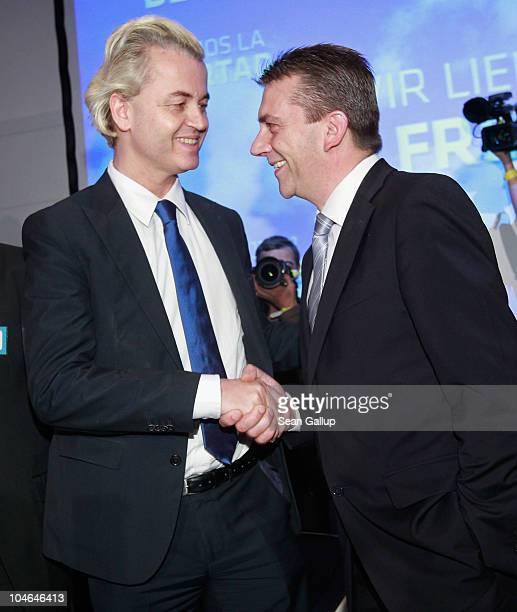 German renegade former Christian Democrat Rene Stadtkewitz greets Dutch rightwing politician Geert Wilders on October 2 2010 in Berlin Germany...