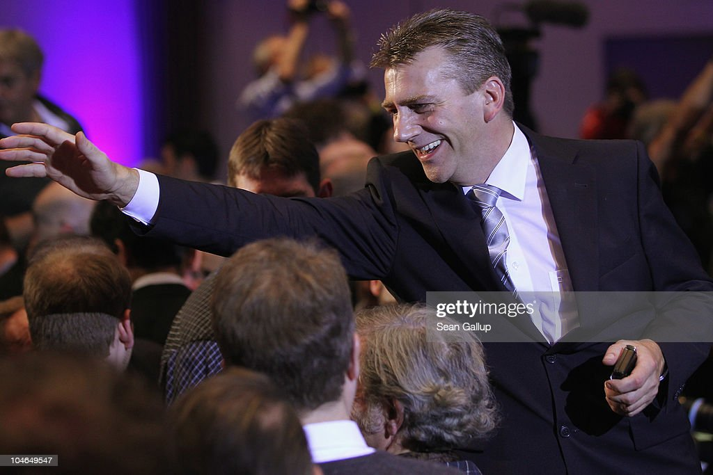 German renegade former Christian Democrat (CDU) Rene Stadtkewitz greets supporters after he and Dutch right-wing politician Geert Wilders spoke on October 2, 2010 in Berlin, Germany. Stadtkewitz, an outspoken Islam critic, invited Wilders to speak to approximately 500 supporters in Berlin. Wilders is seeking to create an international alliance of critics of Islam, called the 'International Freedom Alliance,' in Germany, France, the United Kingdom, Switzerland, Denmark, the United States and the Netherlands.