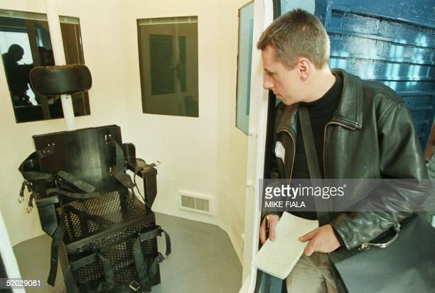 German reporter views the gas chamber where inmates condemned to death are executed inside the 'Death House' at the main prison complex in Florence...