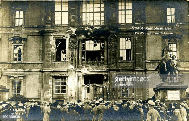 German Revolution in Berlin Germany 1918 Street fighting exterior of damaged building In November 1918 Spartacist leader Karl Liebknecht declared the...