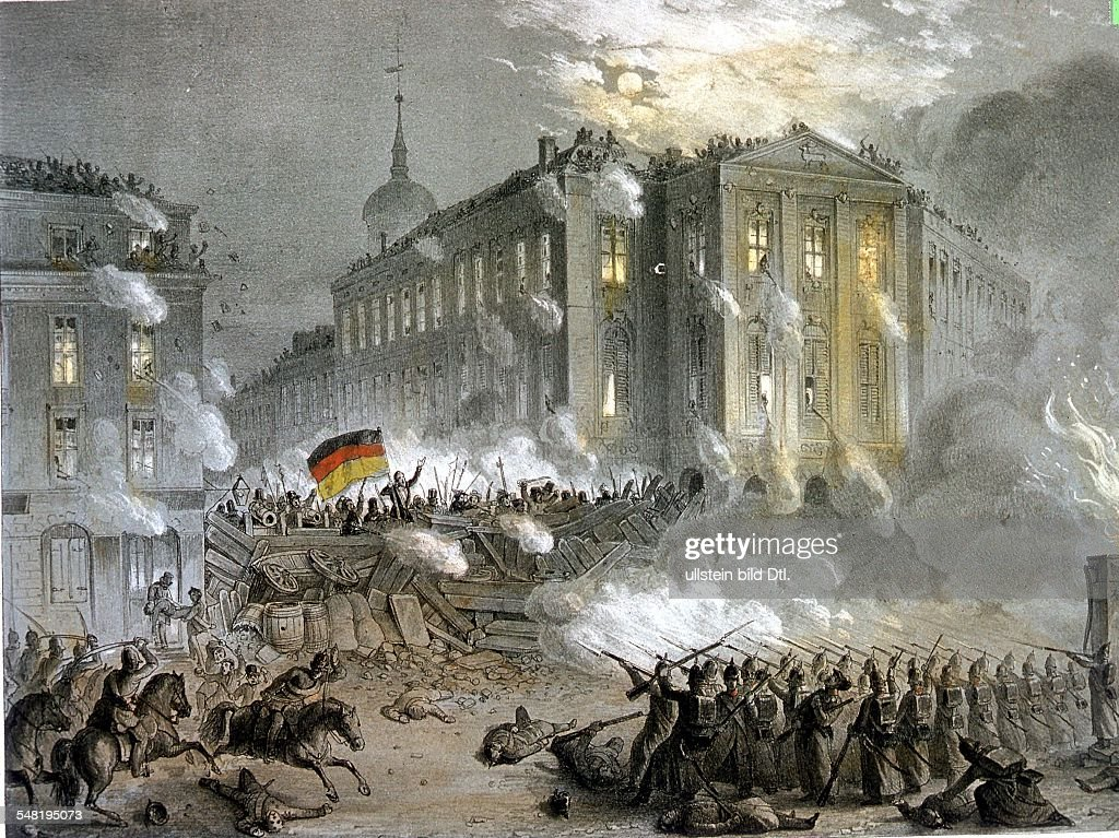 German Revolution of 1848 Street fightings at Alexanderplatz Square in Berlin during the night of March 18 to 19, 1848 - contemporary lithograph - : News Photo