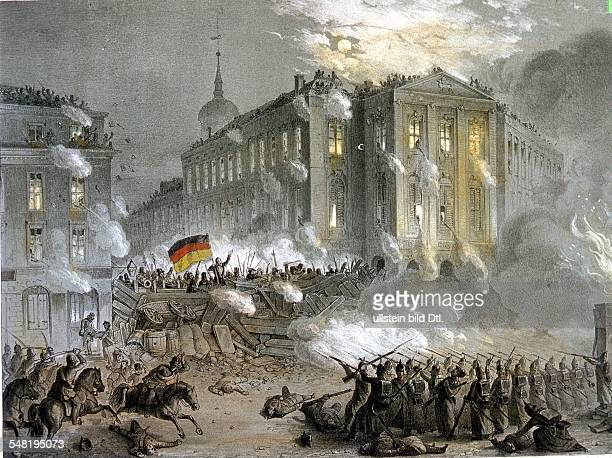 German Revolution of 1848 Street fightings at Alexanderplatz Square in Berlin during the night of March 18 to 19 1848 contemporary lithograph