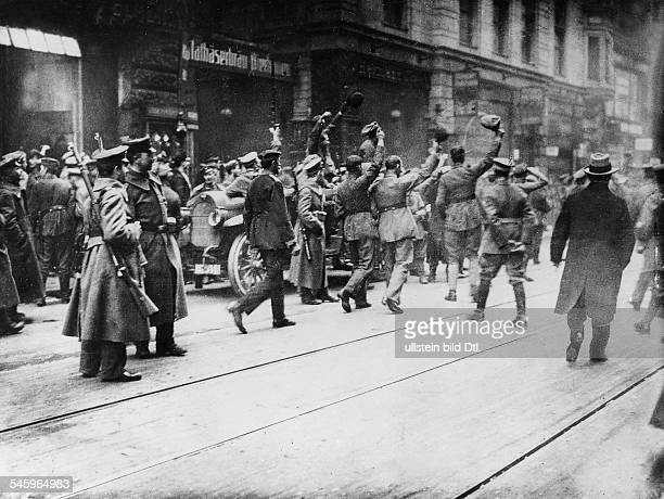 German Revolution of 191819 Soldiers celebrating the proclamation of the Free State of Bavaria in Munich Photographer PresseIllustrationen Heinrich...