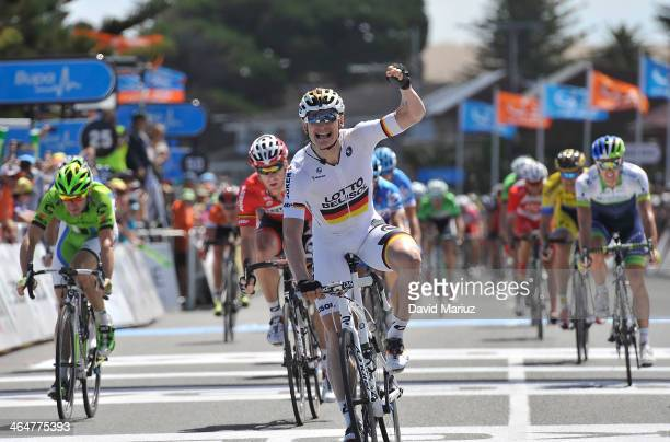German rider Andre Greipel from team Lotto Belisol wins the stage during Stage Four of the Tour Down Under on January 24 2014 in Adelaide Australia
