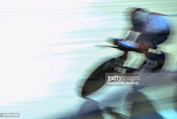 A German rider competes in the women's Team Pursuit at the UCI Track Cycling World Championships in Apeldoorn on March 1 2018 / AFP PHOTO / EMMANUEL...